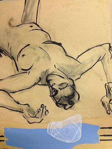 67 x 76 cm. Acryl op papier. Collage