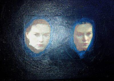 15 x 20 cm. Collage en acryl op doek