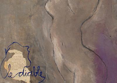 50 x 65 cm. Collage, Acryl en krijt op doek