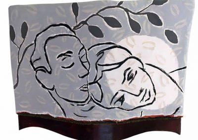 30 x 40 cm. Acryl op papier maché en hout