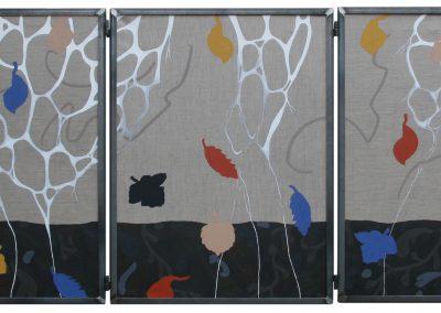 Drieluik open. 60 x 80 cm. Acryl op doek, collage en stof